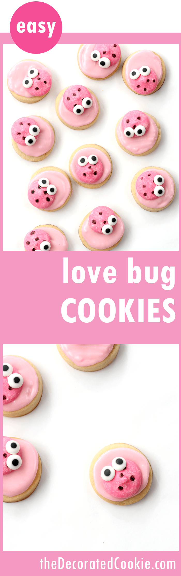 love bug cookies for Valentine's Day