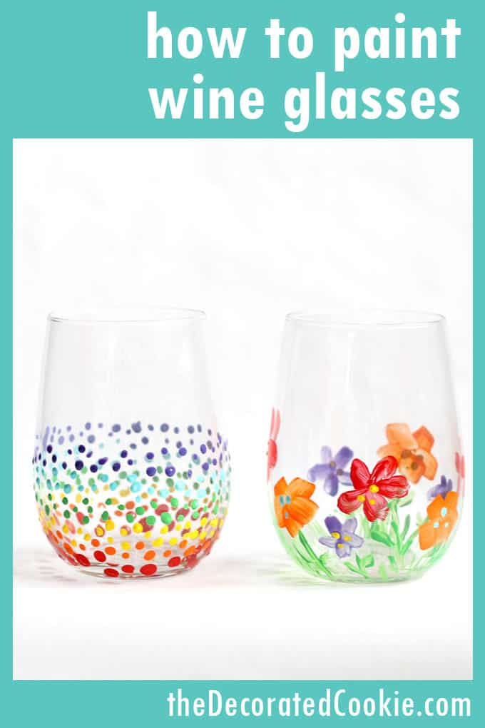 how to paint on wine glasses and a roundup of painted wine glass ideas #wineglass #paintedwineglass