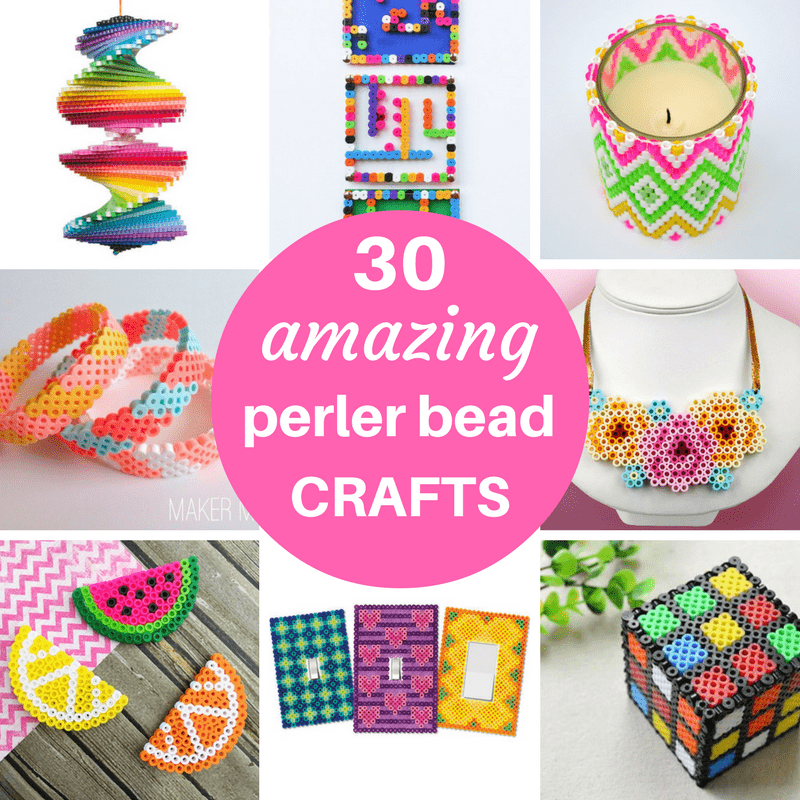 A roundup of 30 amazing perler bead ideas, including crafts, home decor, accessories, and jewelry. Links to the BEST Perler bead patterns. #PerlerBeadIdeas #PerlerBeadPatterns #PerlerBeads
