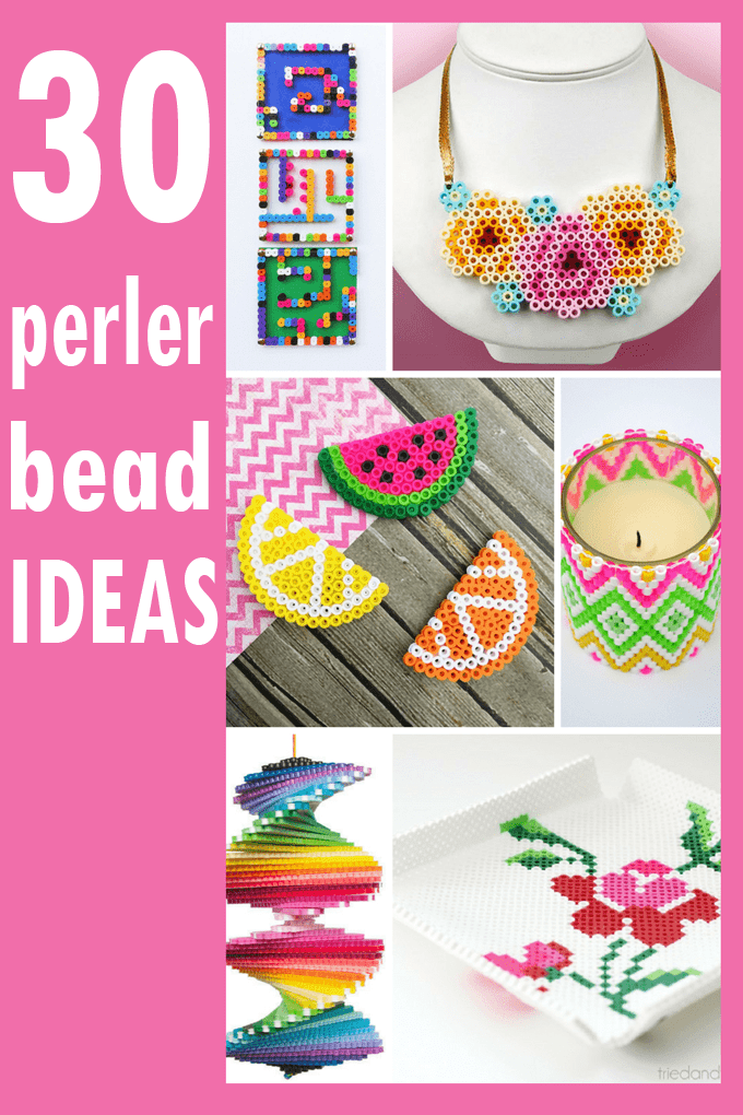 A roundup of 30 awesome perler bead ideas. Crafts, home decor, jewelry, and accessories. #perlerbeads #crafts #ideas #perlerbeadpatterns