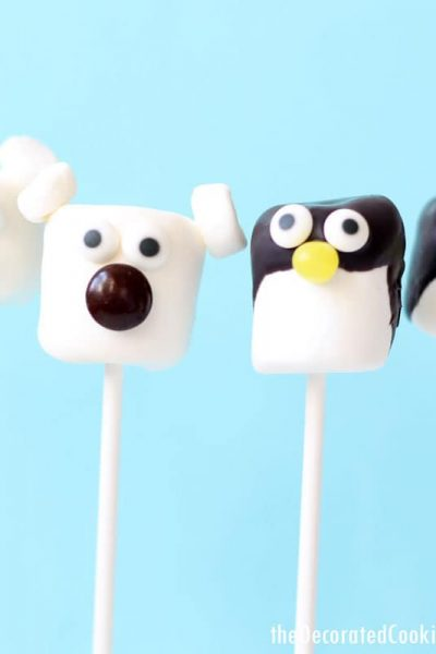 polar bear and penguin marshmallow pops