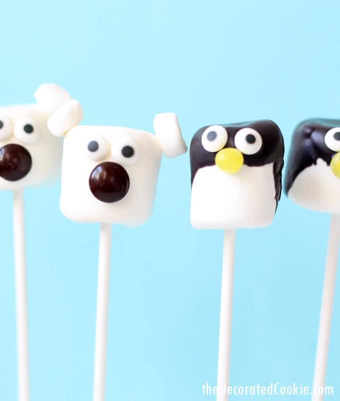 polar bear and penguin marshmallow pops