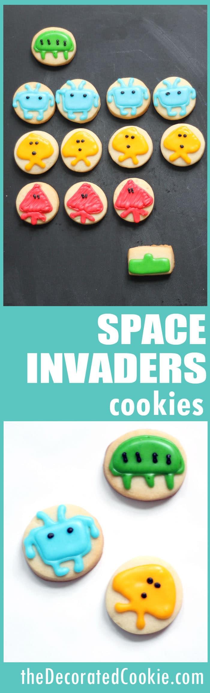 SPACE INVADERS cookies -- 1980s video games, Atari