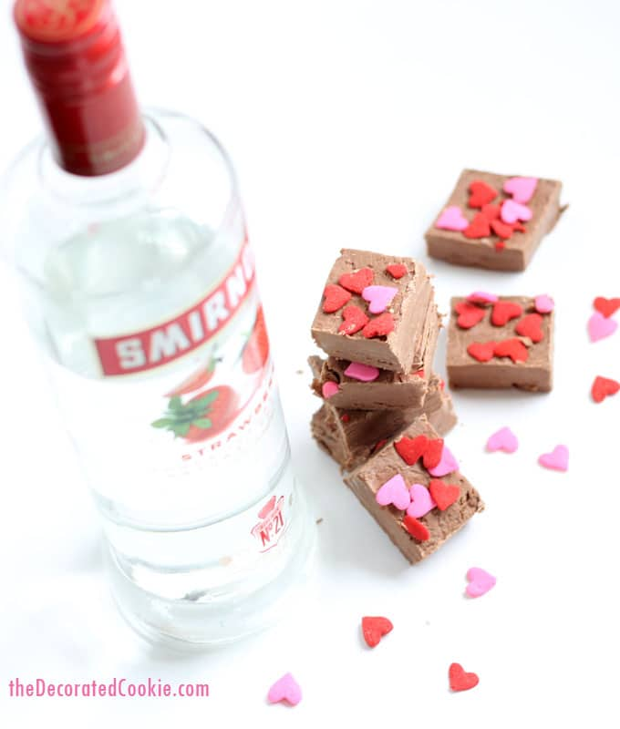 Valentine's Day boozy fudge -- 3-ingredients, dark chocolate with strawberry VODKA