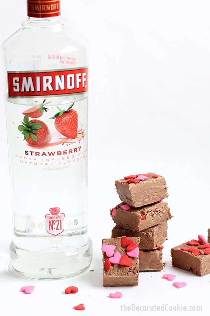 3-ingredient Valentine's Day boozy fudge with dark chocolate and strawberry vodka is the best thing ever in the universe. Video recipe.