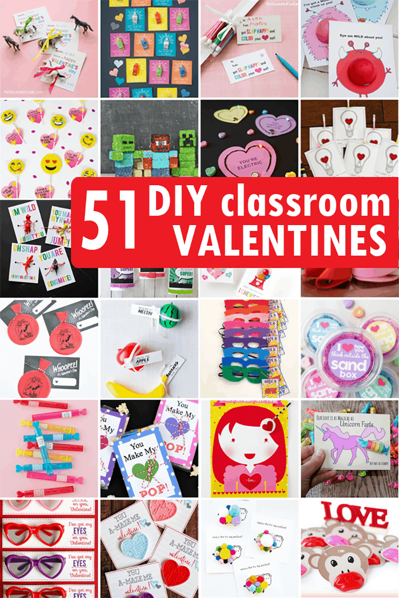 collage of Valentine's Day classroom cards ideas