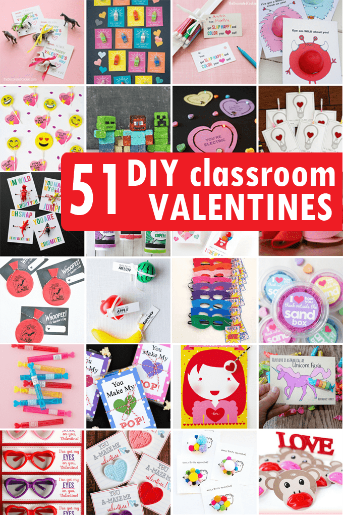 A roundup of DIY Valentine's Day classroom cards ideas for kids' school parties. Classroom cards for Valentine's Day. Budget-friendly.