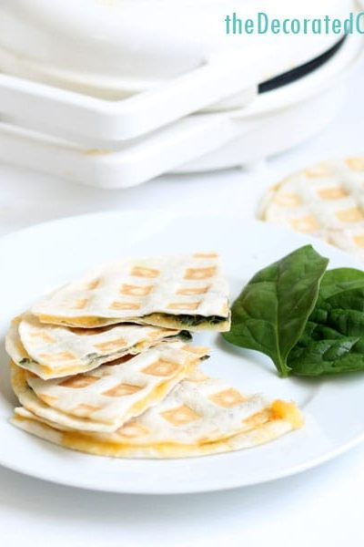 waffle iron quesadillas -- 3 minute spinach and cheese quesadillas made in the waffle iron