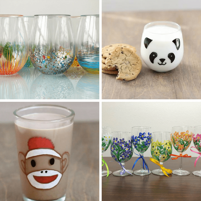 how to paint on wine glasses -- wine glass painting roundup for inspiration