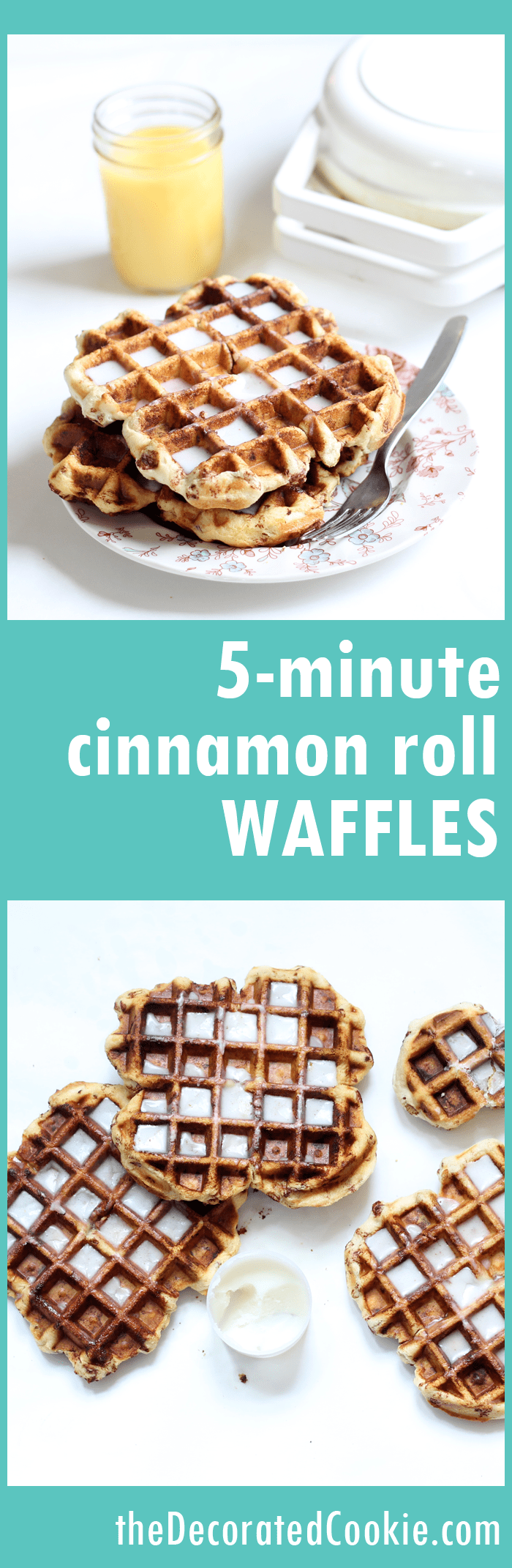 cinnamon roll waffles -- 5-minute cinnamon rolls in your waffle iron
