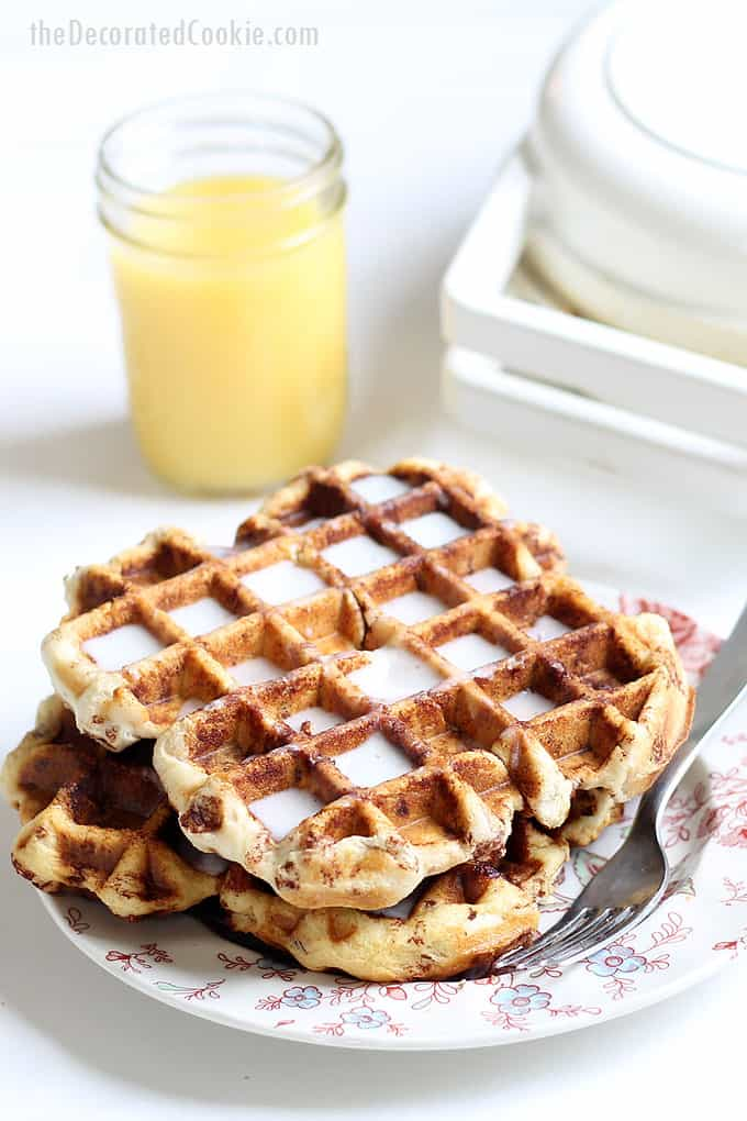 CINNAMON ROLL WAFFLES -- quick and easy breakfast idea. Turn store-bought refrigerated cinnamon rolls into instant waffles with the waffle iron.