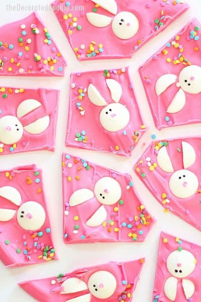 Chocolate Easter bunny bark is a fun food treat idea for Easter. Pink chocolate topped with candy melt bunnies.