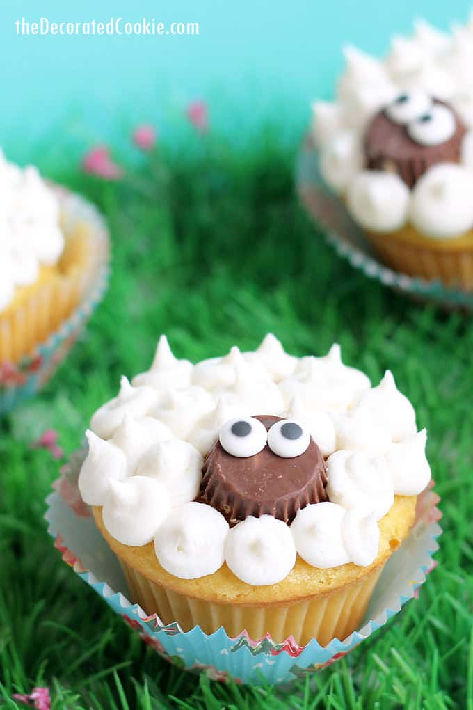 Super simple lamb cupcakes made with Reese's peanut butter cups and frosting. A fun treat for Easter. Video instructions included.