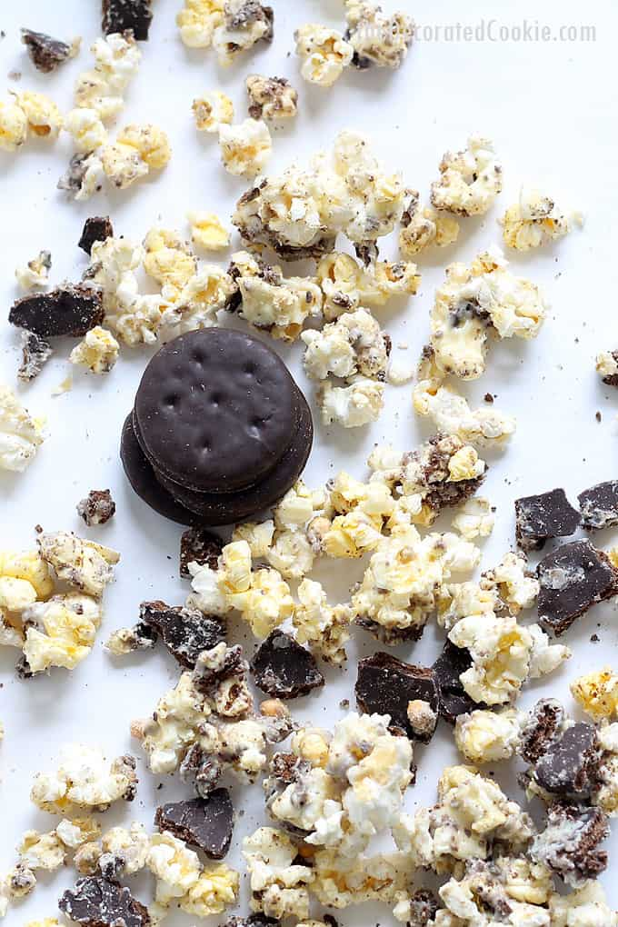 THIN MINTS POPCORN -- 3-ingredient snack recipe using the Girl Scout cookie favorite. Combine chocolate, Thin Mints cookies and popcorn. Sweet and salty.