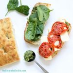 homemade copycat STARBUCKS roasted tomato and mozzarella panini with pesto -- lunch, sandwich