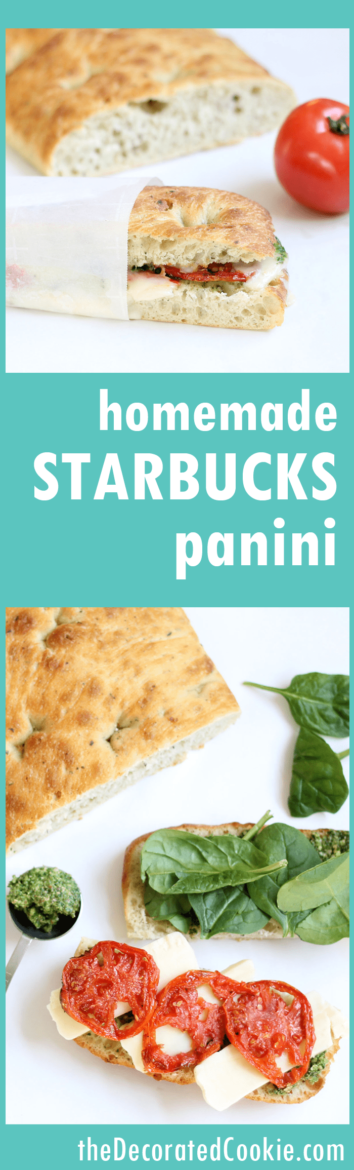 Make a homemade Starbucks panini with roasted tomatoes, pesto, spinach, and mozzarella cheese. A delicious lunch idea. Starbucks sandwiches. With video.