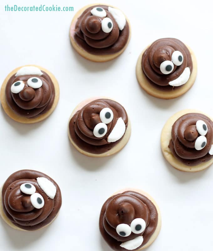 poop emoji cookie bites -- easy decorated cookies