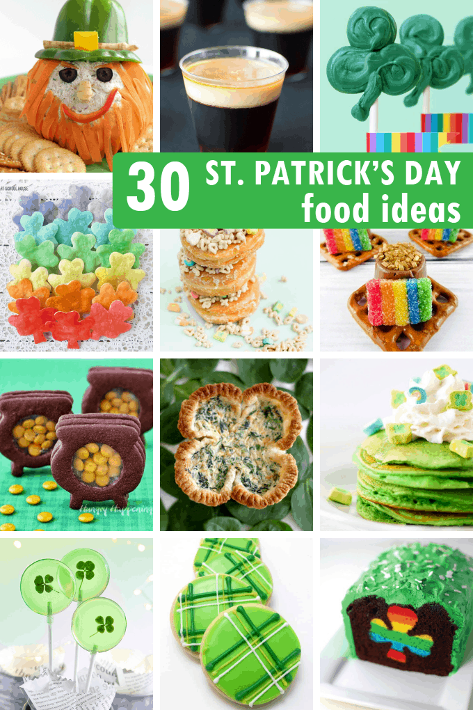 a roundup of the 30 BEST ST. PATRICK'S DAY FUN FOOD IDEAS, including rainbow food. Great for classroom parties and St. Patrick's Day party.