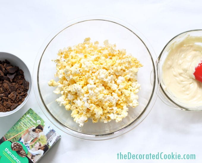 3 ingredient THIN MINTS popcorn -- Girl Scout cookies popcorn
