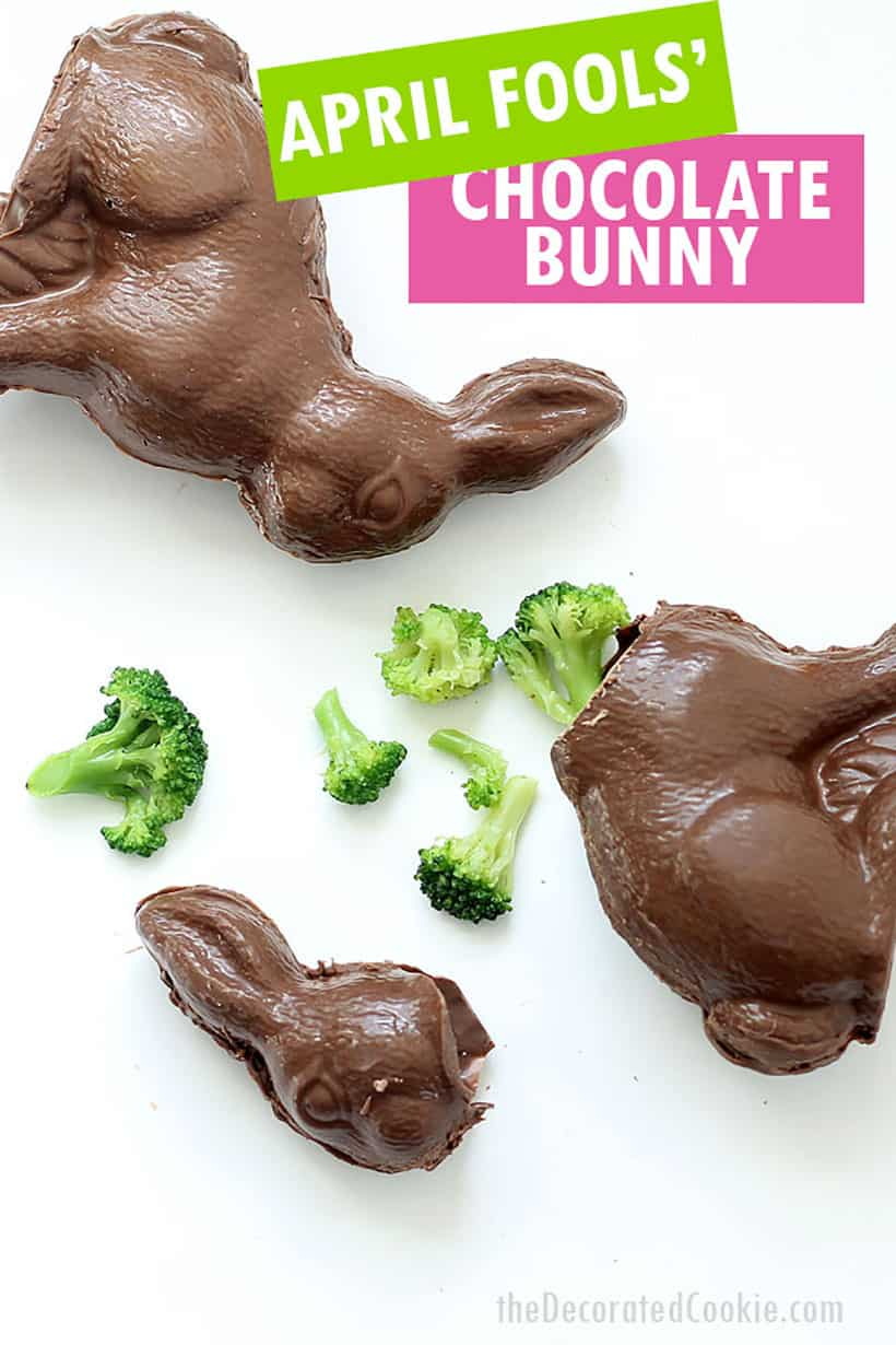 April Fools' Day food tricks, vegetables inside a chocolate Easter bunny