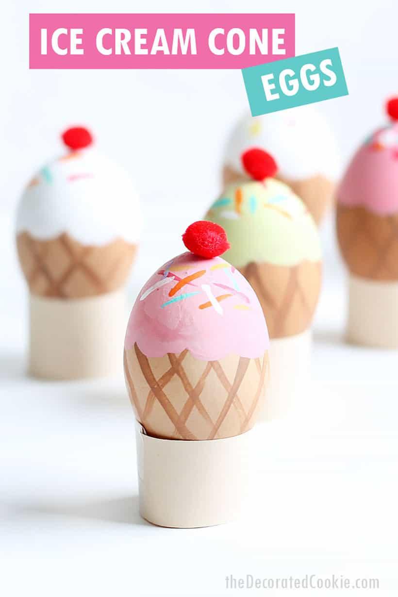 ice cream cone Easter egg decorating idea