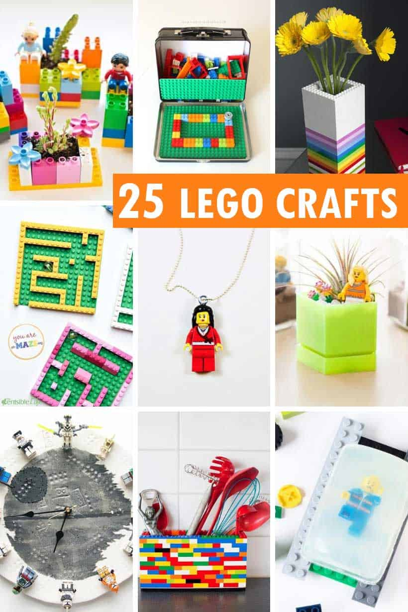collage of lego crafts