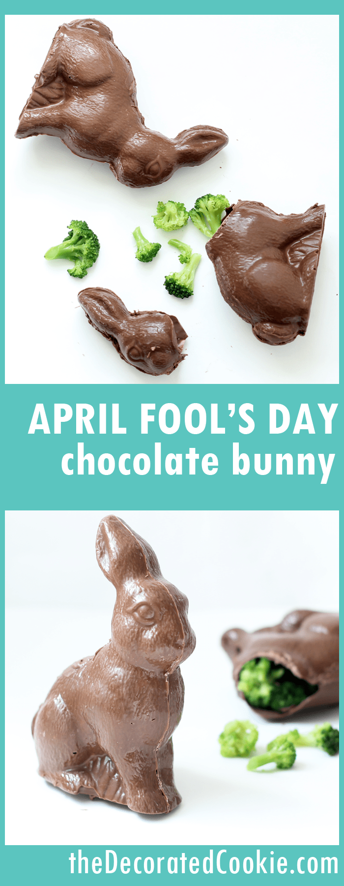 April Fool's Day chocolate bunny trick -- filled with broccoli