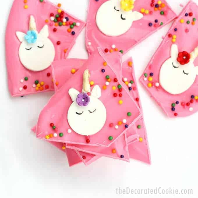 the best unicorn bark -- rainbow chocolate unicorn bark