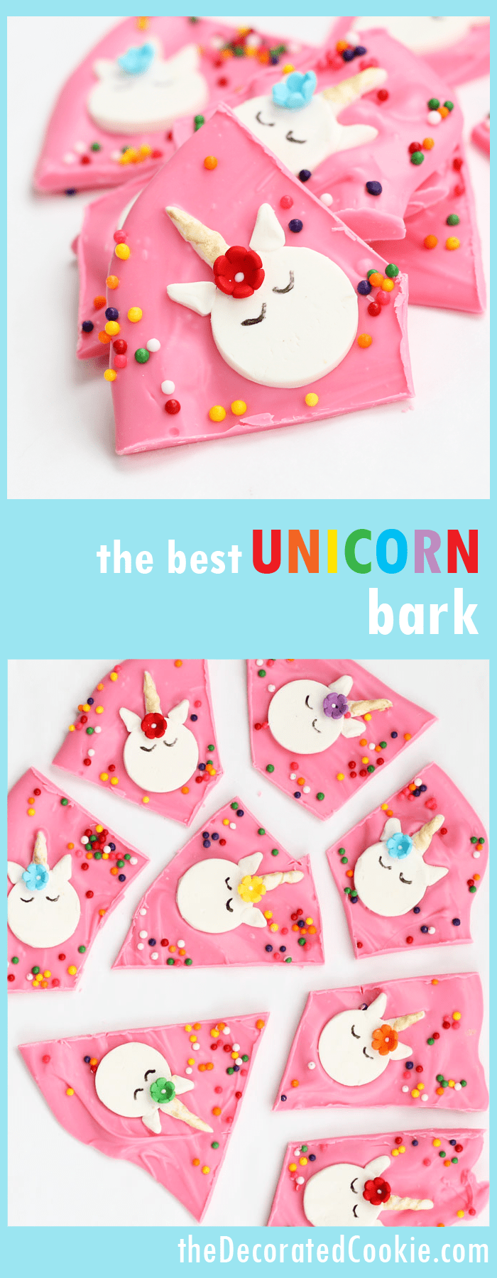 the best unicorn bark -- rainbow chocolate unicorn bark