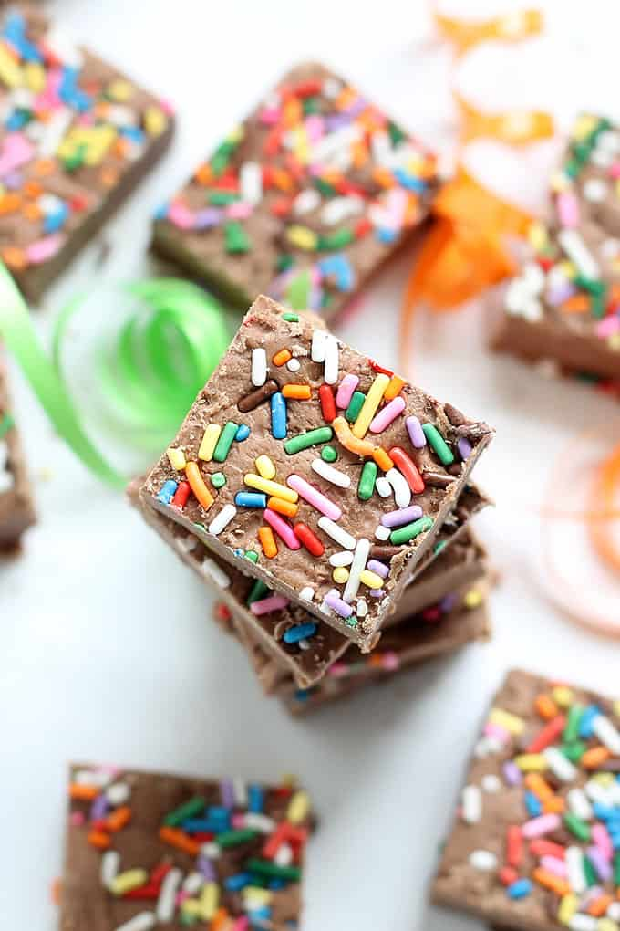 This 3-ingredient birthday boozy fudge with sprinkles is delicious and strong, for grown-up celebrations only. Video how-tos included. Minutes to make.