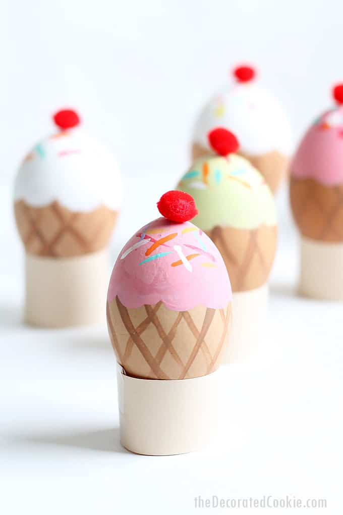 ICE CREAM CONE EASTER EGGS-- Fun and silly Ice cream cone Easter egg decorating idea with video tutorial, and more ideas for Easter eggs.
