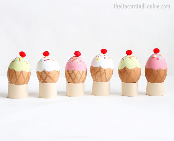 ice cream cone Easter eggs -- no-dye