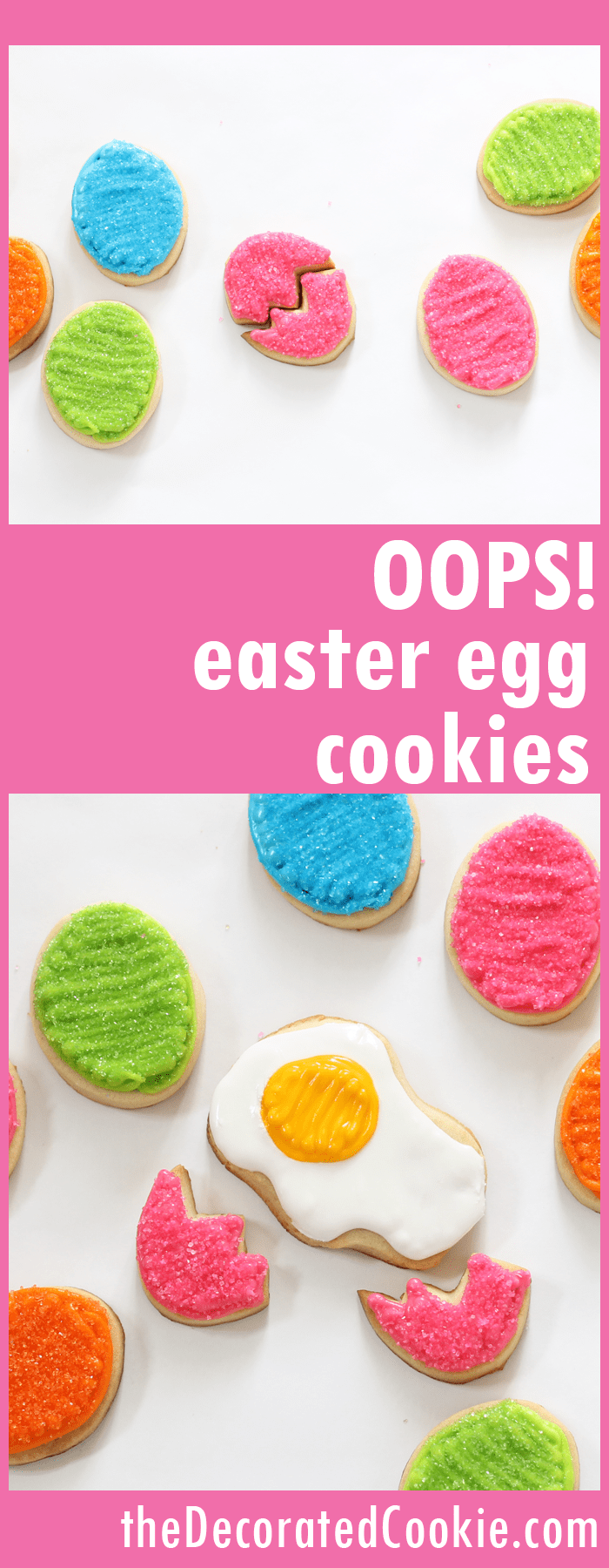 """oops"" cracked Easter egg cookies"