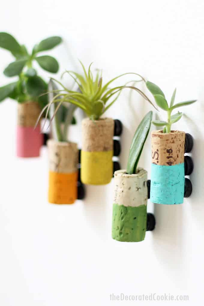 These wine cork succulent planter magnets are a fun and easy home decor craft. Video instructions included.