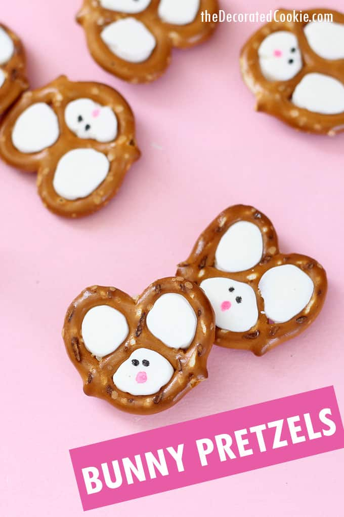 easter bunny pretzels with pink background