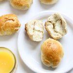homemade Bantam bagel bites stuffed with cream cheese