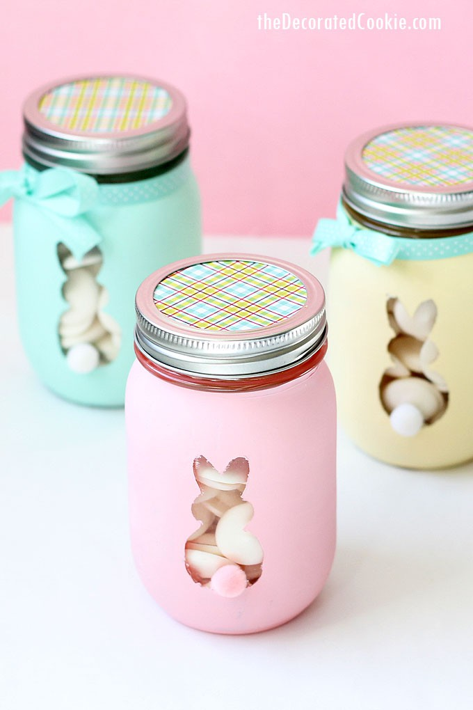 Easter bunny mason jars are a cute, DIY Easter decor idea. Or, fill this Easter craft with candy and give as a homemade gift.
