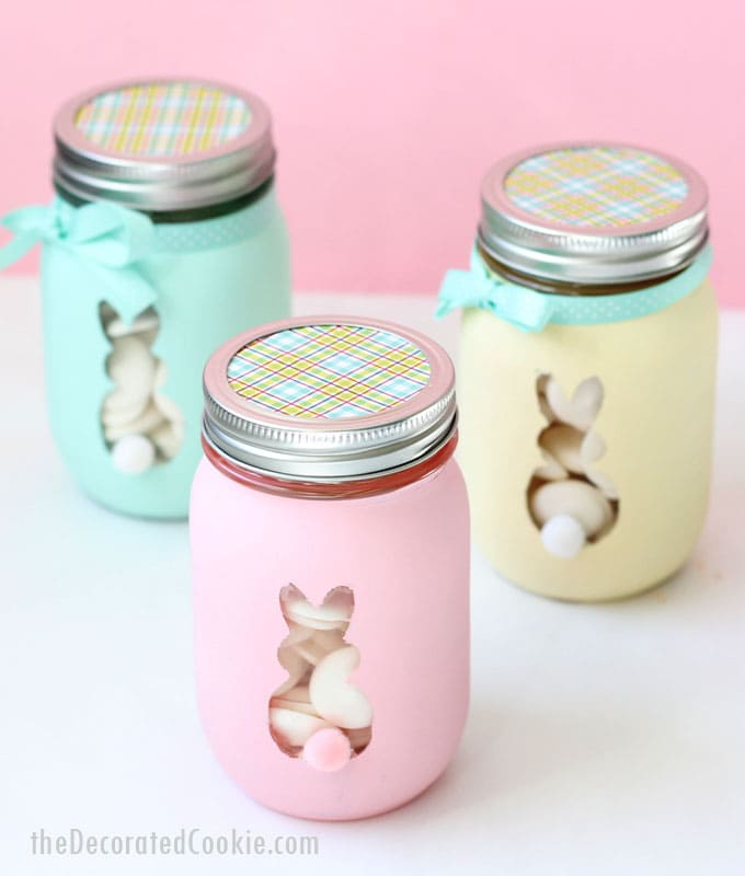 Easter bunny mason jars are a cute diy easter decor idea for Mason jar easter ideas