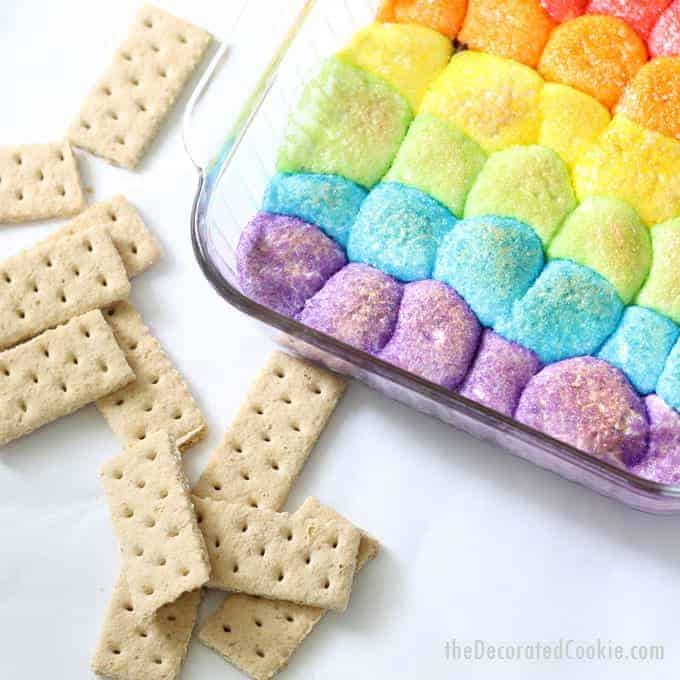 rainbow s'mores dip -- EASY, delicious, colorful dessert dip with video