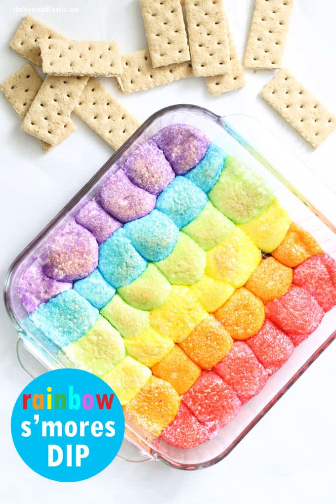 Rainbow s'mores dip is an easy, delicious unicorn food idea for your rainbow party. #rainbow #smoresdip #unicornfood #rainbowparty