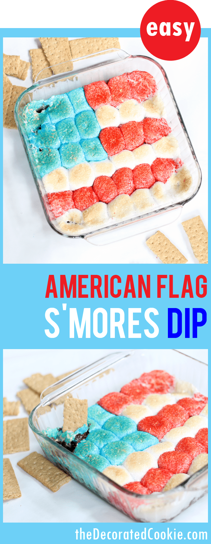 American flag s'mores dip -- fun and easy Summer dessert for the 4th of July and Memorial Day