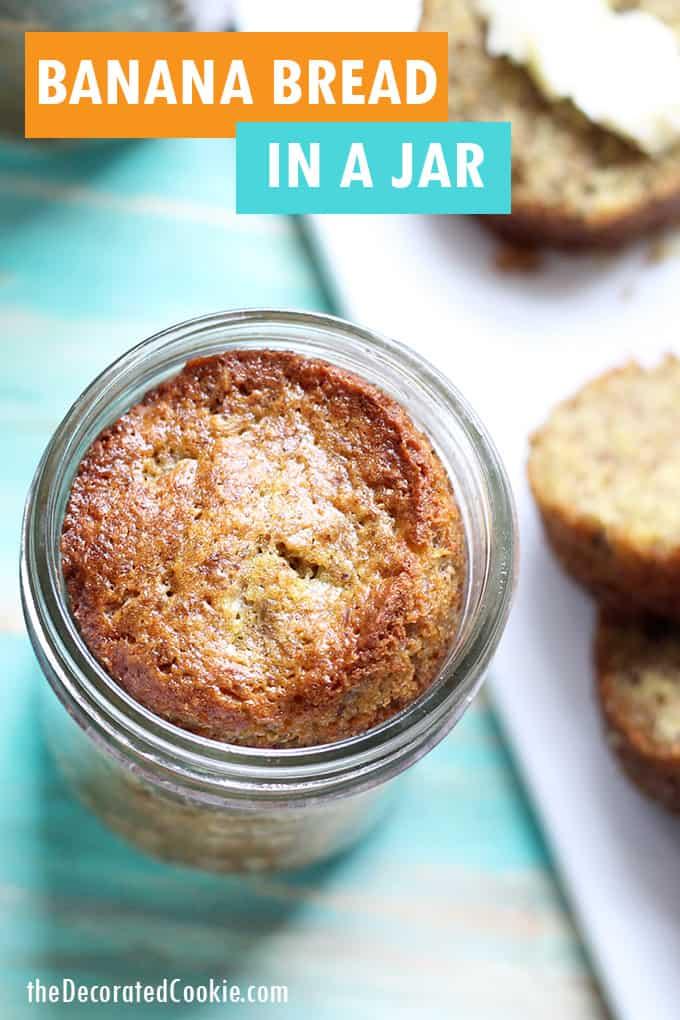 banana bread in mini mason jar