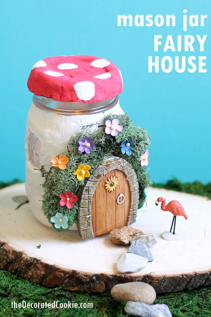 Fairy house idea: Use air-dry clay and mason jars to make a light-up fairy garden mason jar home decoration.  Video tutorial included.