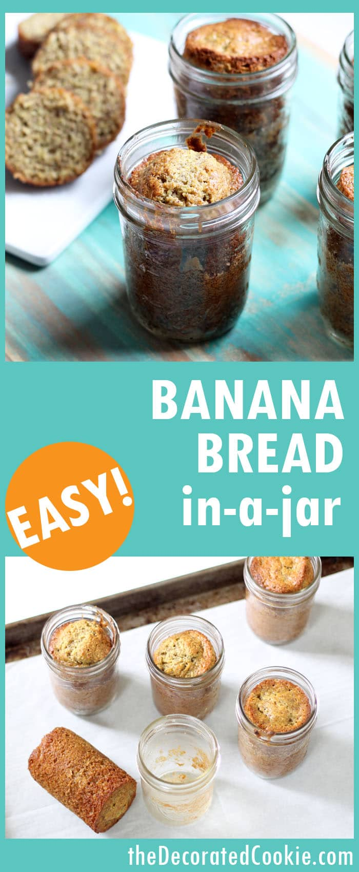 banana bread in a jar -- banana bread with wheat germ and flax seed (or use any of your favorite quick bread recipes)