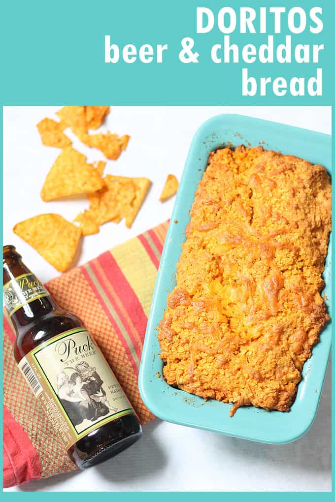 Doritos beer and cheddar bread combines three of my favorite things in one quick bread. A great food idea for Father's Day.