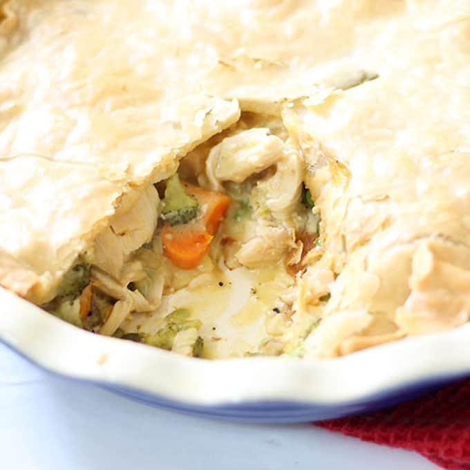 Easy chicken pot pie recipe! Use rotisserie chicken and other shortcuts for this weeknight dinner. Video recipe included.
