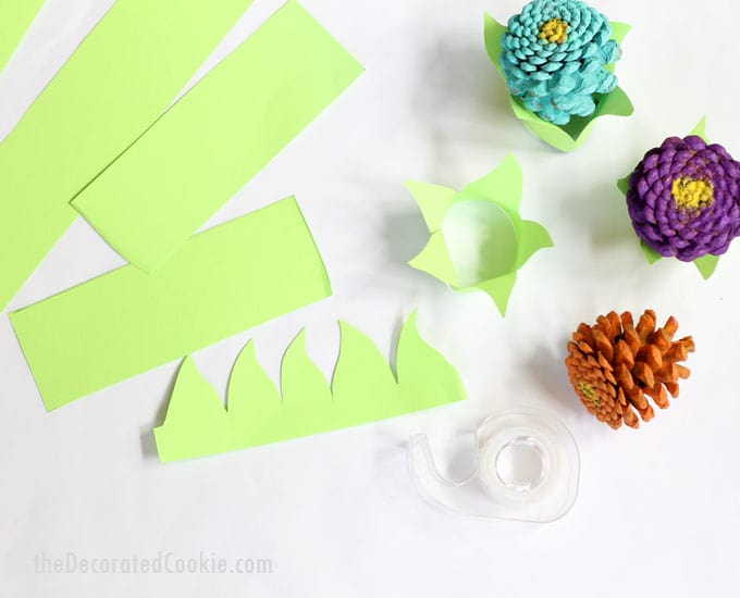 how to make pine cone Zinneas -- easy flower craft --with paper stands to make a centerpiece