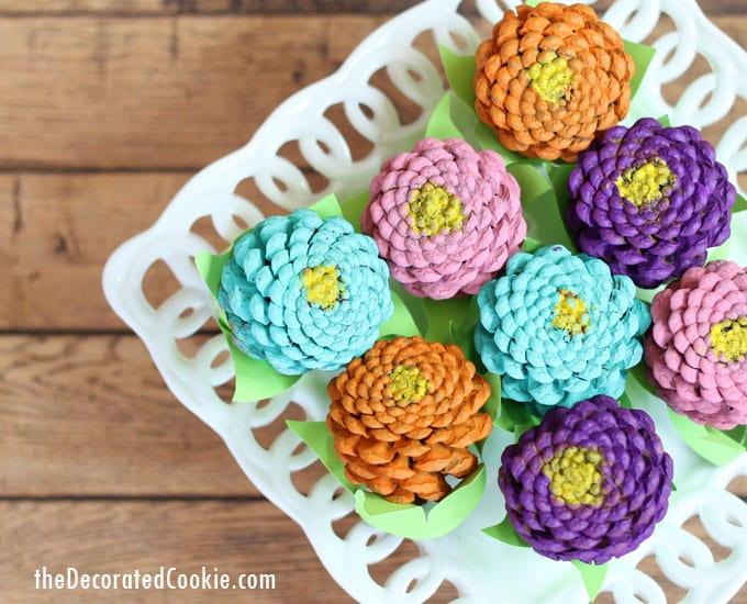 Pine Cone Crafts Part - 47: Easy Pinecone Zinneas -- Pinecone Crafts -- Flower Crafts -- Centerpiece  Home DIY