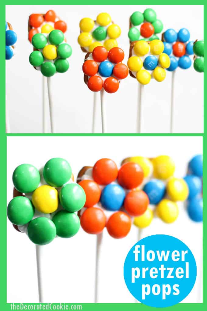 How to make a bouquet of flower pretzel pops -- flower pretzel bites -- for Mother's Day and Spring