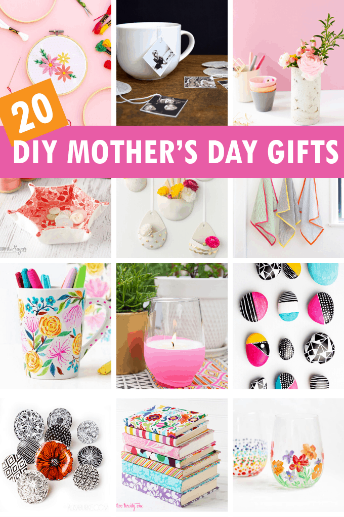 a collage of handmade mother's day gift ideas